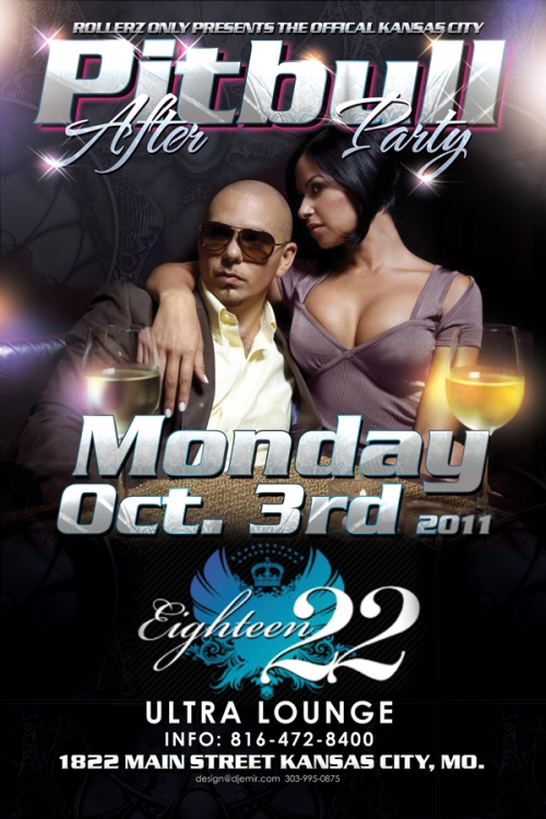 Pitbul Kansas City Concert After Party Flyer Design Back