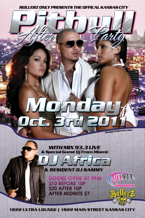 Pitbul Kansas City Concert After Party Flyer Design