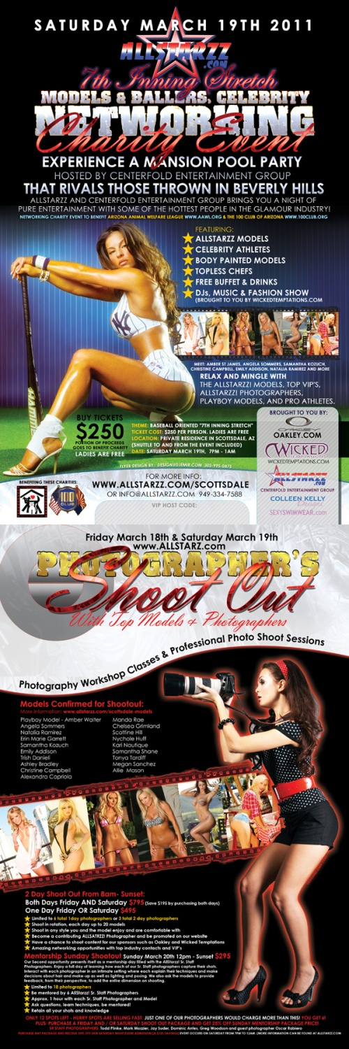 Flyer Design for Models and Ballers Charity Event and Photography shoot out event Scottsdale AZ