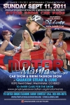Flyer design for Motor Mania Car Show and Bikini Show Denver CO w DJ Emir