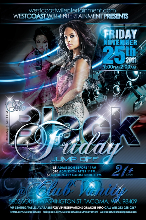 Flyer Design for Black Friday Jump Off at Club Vanity Tacoma Washington