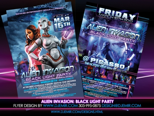 Alien Invasion Black Light Teen Party Flyer Design