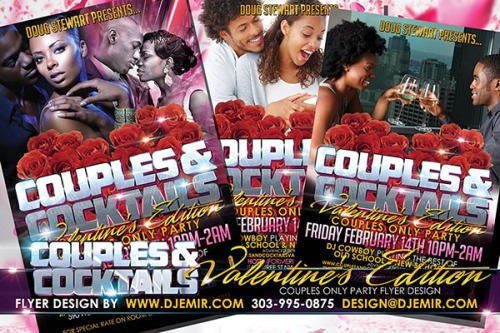 Couples and Cocktails St Valentine's Day Party Flyer design