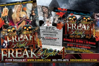 Freak Night 4 Halloween Flyer Design California