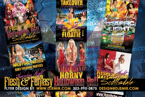 Flesh And Fantasy Halloween Ball and Halloween Weekend Hotel Takeover Nightclub Parties and Pool Parties Flyer Design.