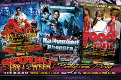 Good Vs Evil, Spooky Halloween Bollywood And Bhangra Halloween Party Flyer Designs