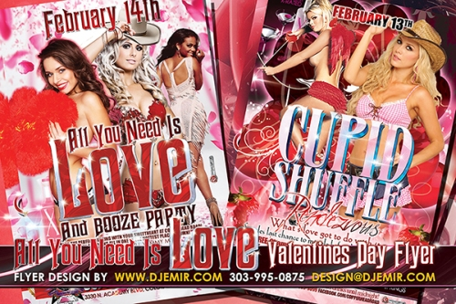 Valentine's Day Party Flyer Design Denver Colorado Springs CO